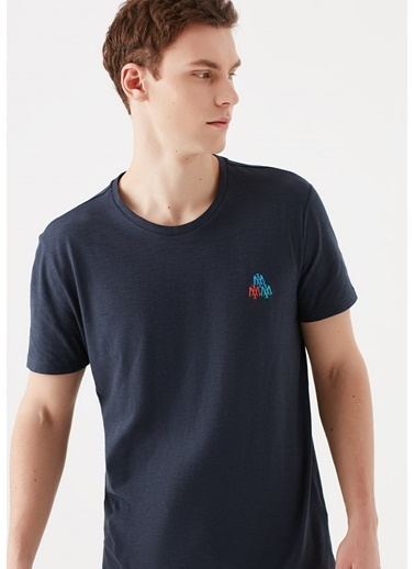 Mavi Mühür Logo Baskılı  Tişört Mavi